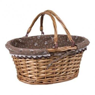 Krepšelis su kilnojamomis rankenomis 'rudas'