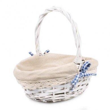Krepšelis su medžiaga - įvairių spalvu kaspinėlis 3