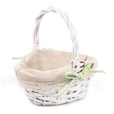 Krepšelis su medžiaga mažas - įvairių spalvu kaspinėlis 3