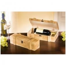 Medinė dėžutė vienam buteliui