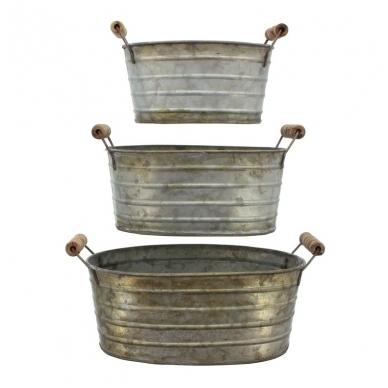 metaliniai krepšiai su medinėmis rankenėlėmis 3 vnt