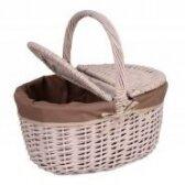 Pikniko krepšelis su rudu audinio įdėklu