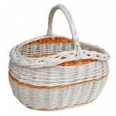 Pintas krepšelis apsipirkimui, grybavimui, (didelis) 46 cm BALTA oranžinė