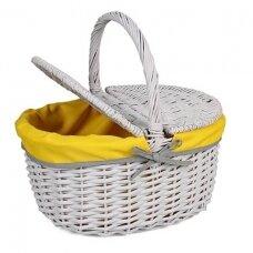 Pikniko krepšelis su gelsvu audinio įdėklu