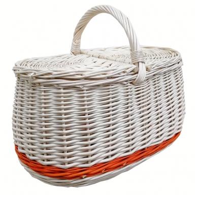 Pikniko  baltas krepšys su rusva juostele