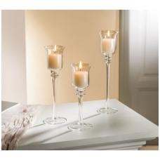 Stiklinės žvakidės, 3 vnt.